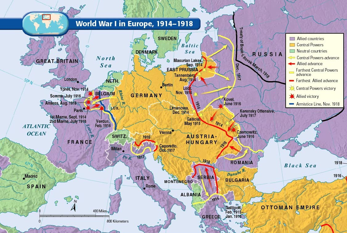 World War I Maps - N.C.M.S. 8TH GRADE SOCIAL STUS on battle of verdun map wwi, downloadable maps of battle wwi, allied powers map wwi, battle of tannenberg map wwi,